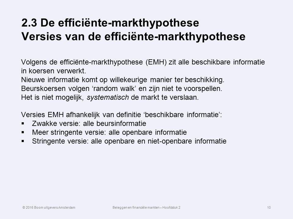 2.3 De efficiënte-markthypothese Versies van de efficiënte-markthypothese Volgens de efficiënte-markthypothese (EMH) zit alle beschikbare informatie i