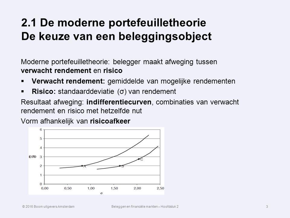 2.1 De moderne portefeuilletheorie De keuze van een beleggingsobject Moderne portefeuilletheorie: belegger maakt afweging tussen verwacht rendement en