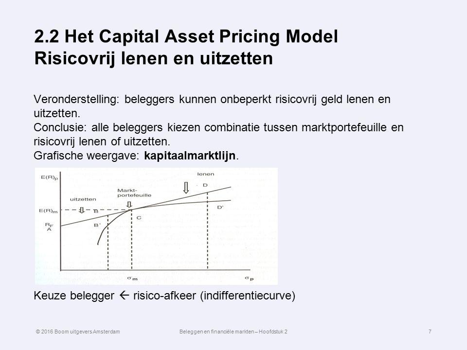2.2 Het Capital Asset Pricing Model Risicovrij lenen en uitzetten Veronderstelling: beleggers kunnen onbeperkt risicovrij geld lenen en uitzetten. Con