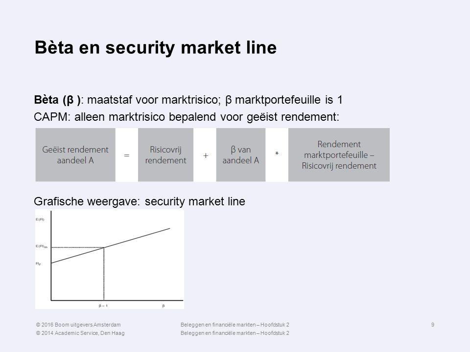 Bèta en security market line Bèta (β ): maatstaf voor marktrisico; β marktportefeuille is 1 CAPM: alleen marktrisico bepalend voor geëist rendement: G