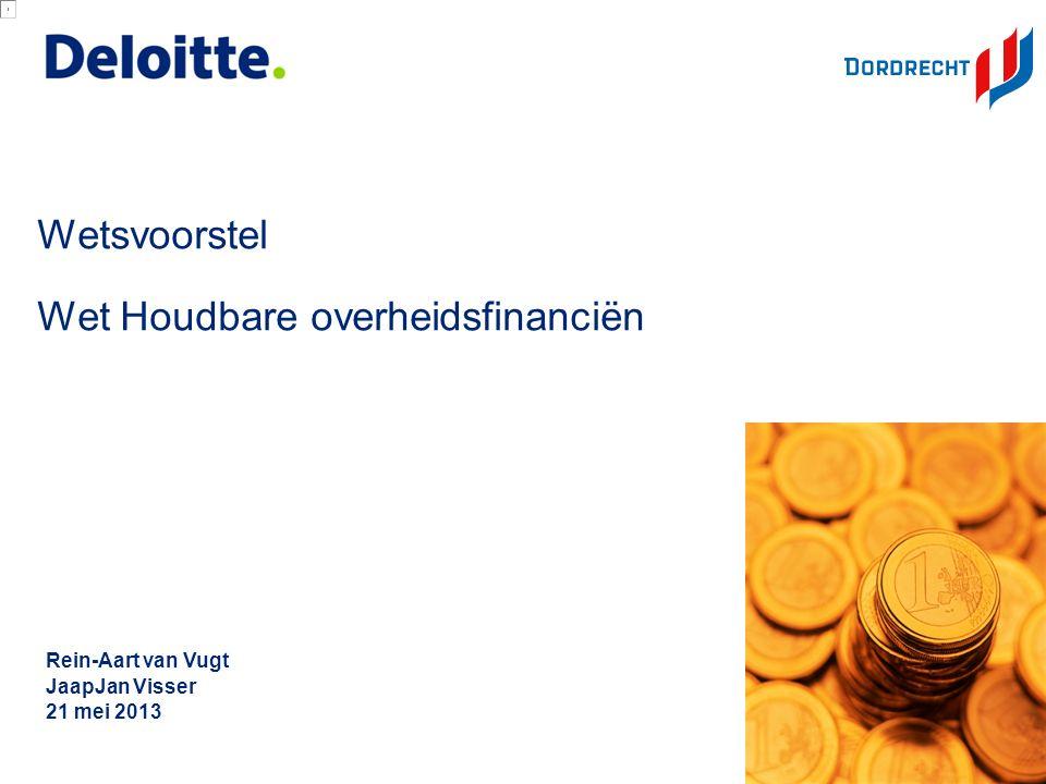 © 2012 Deloitte The Netherlands Afspraken voor Nederland: 2013 -EMU-saldo tekort:2,7% van BBP (< 3% van BBP) = circa € 17 miljard hiervan 0,5% van BBP voor decentrale overheden = € 3 miljard hiervan 0,38% van BBP voor gemeenten = € 2,3 miljard hiervan € 19.130.000 voor gemeente Dordrecht Totaal Drechtsteden € 34.250.000 (= referentiewaarden) (Dat is inclusief Gemeenschappelijke Regelingen) Werkelijk 2012 Dordrecht: € 55.400.000 EMU-saldo tekort prognose werkelijk gemeenten 2013: € 2,4 miljard prognose werkelijk decentrale overheden 2013: € 4,1 miljard Vanaf 2013 De referentiewaarde gaat na 2013 verder dalen: -MTO:EMU-saldo tekort daalt jaarlijks met 0,5% tot dat MTO is bereikt (EMU-saldo tekort tussen + 0,5% en -/- 0,5% van BBP).
