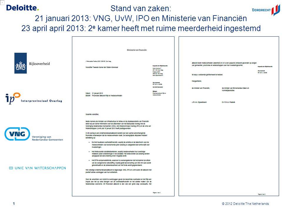© 2012 Deloitte The Netherlands Stand van zaken: 21 januari 2013: VNG, UvW, IPO en Ministerie van Financiën 23 april april 2013: 2 e kamer heeft met r