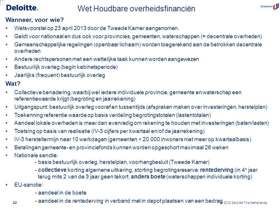 © 2012 Deloitte The Netherlands Wet Houdbare overheidsfinanciën Wanneer, voor wie? Wetsvoorstel op 23 april 2013 door de Tweede Kamer aangenomen. Geld