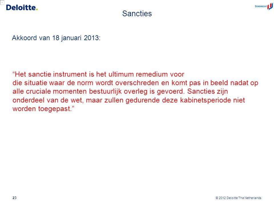 """© 2012 Deloitte The Netherlands Sancties Akkoord van 18 januari 2013: 23 """"Het sanctie instrument is het ultimum remedium voor die situatie waar de nor"""