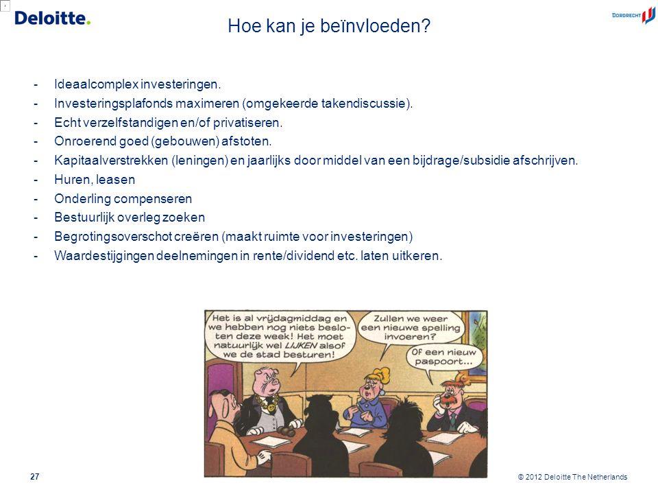 © 2012 Deloitte The Netherlands Hoe kan je beïnvloeden? -Ideaalcomplex investeringen. -Investeringsplafonds maximeren (omgekeerde takendiscussie). -Ec