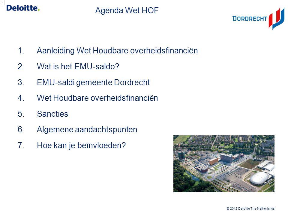 © 2012 Deloitte The Netherlands Agenda Wet HOF 1.Aanleiding Wet Houdbare overheidsfinanciën 2.Wat is het EMU-saldo? 3.EMU-saldi gemeente Dordrecht 4.W