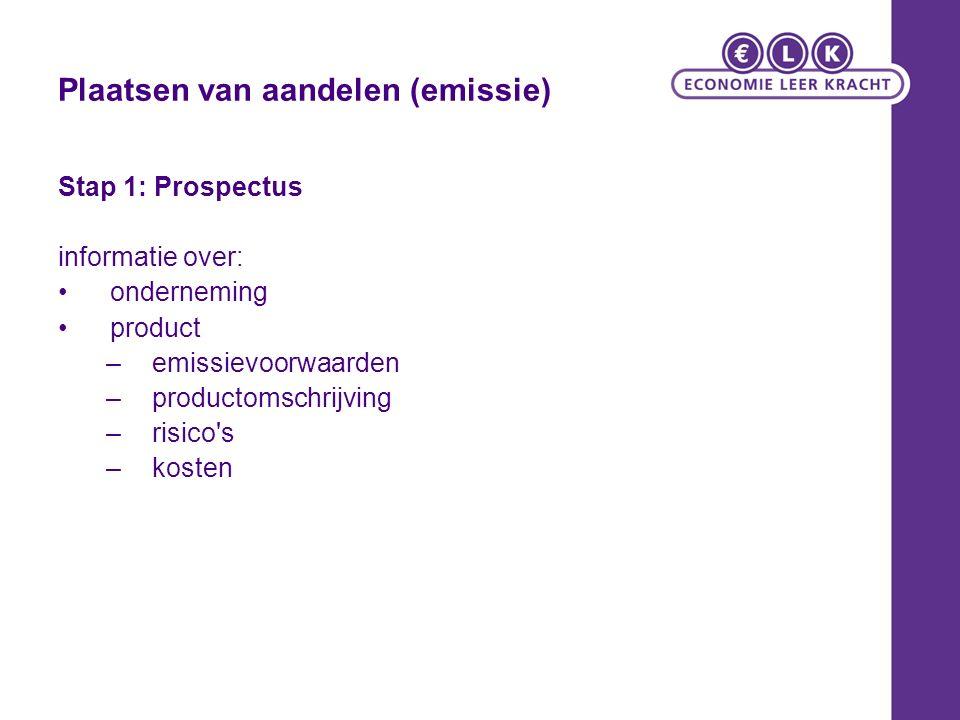 Plaatsen van aandelen (emissie) Stap 1: Prospectus informatie over: onderneming product –emissievoorwaarden –productomschrijving –risico s –kosten