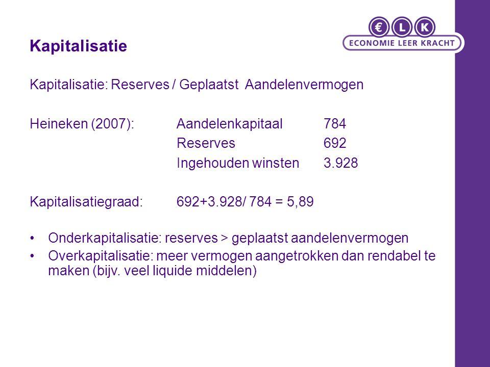 Kapitalisatie Kapitalisatie: Reserves / Geplaatst Aandelenvermogen Heineken (2007): Aandelenkapitaal 784 Reserves 692 Ingehouden winsten 3.928 Kapitalisatiegraad: 692+3.928/ 784 = 5,89 Onderkapitalisatie: reserves > geplaatst aandelenvermogen Overkapitalisatie: meer vermogen aangetrokken dan rendabel te maken (bijv.