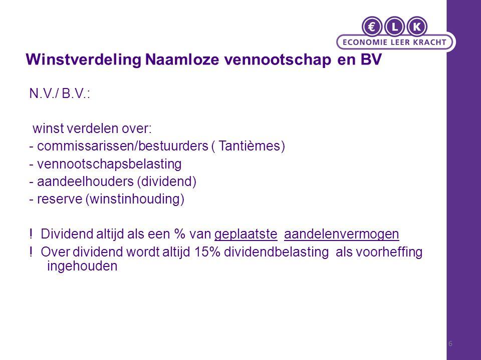 6 Winstverdeling Naamloze vennootschap en BV N.V./ B.V.: winst verdelen over: - commissarissen/bestuurders ( Tantièmes) - vennootschapsbelasting - aandeelhouders (dividend) - reserve (winstinhouding) .