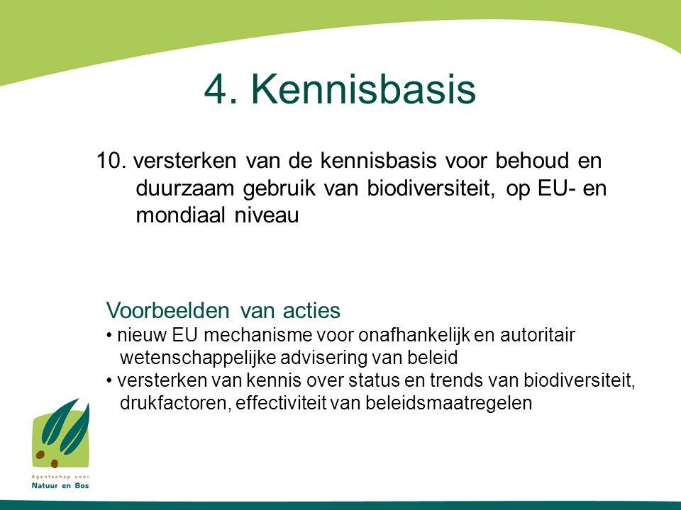 4. Kennisbasis 10. versterken van de kennisbasis voor behoud en duurzaam gebruik van biodiversiteit, op EU- en mondiaal niveau Voorbeelden van acties