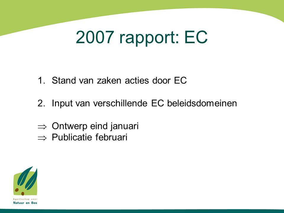 2007 rapport: EC 1.Stand van zaken acties door EC 2.Input van verschillende EC beleidsdomeinen  Ontwerp eind januari  Publicatie februari