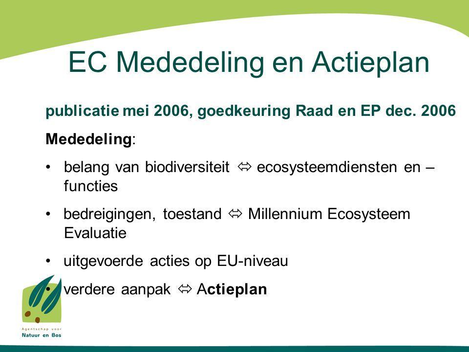 EC Mededeling en Actieplan publicatie mei 2006, goedkeuring Raad en EP dec. 2006 Mededeling: belang van biodiversiteit  ecosysteemdiensten en – funct