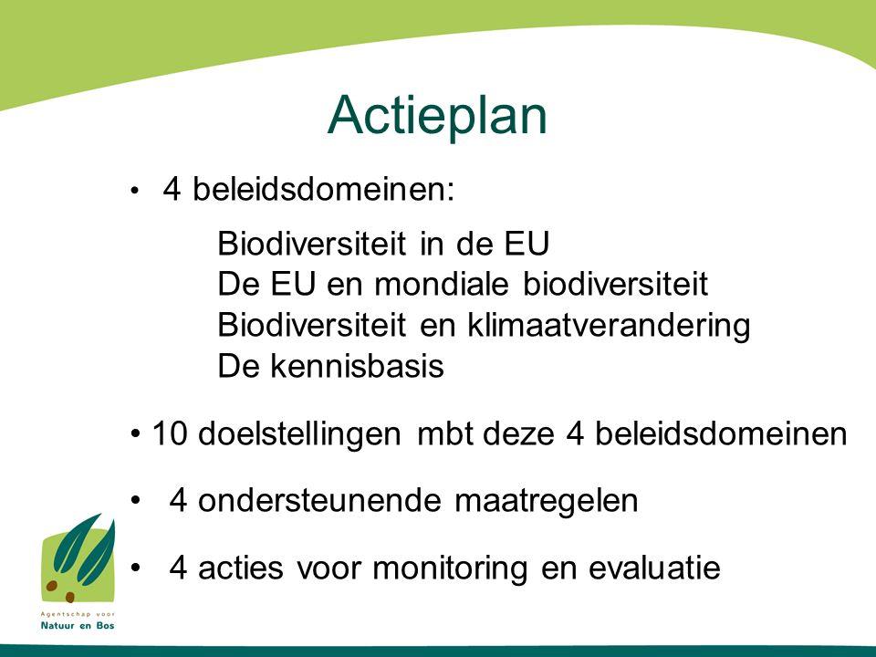 Actieplan 4 beleidsdomeinen: Biodiversiteit in de EU De EU en mondiale biodiversiteit Biodiversiteit en klimaatverandering De kennisbasis 10 doelstellingen mbt deze 4 beleidsdomeinen 4 ondersteunende maatregelen 4 acties voor monitoring en evaluatie