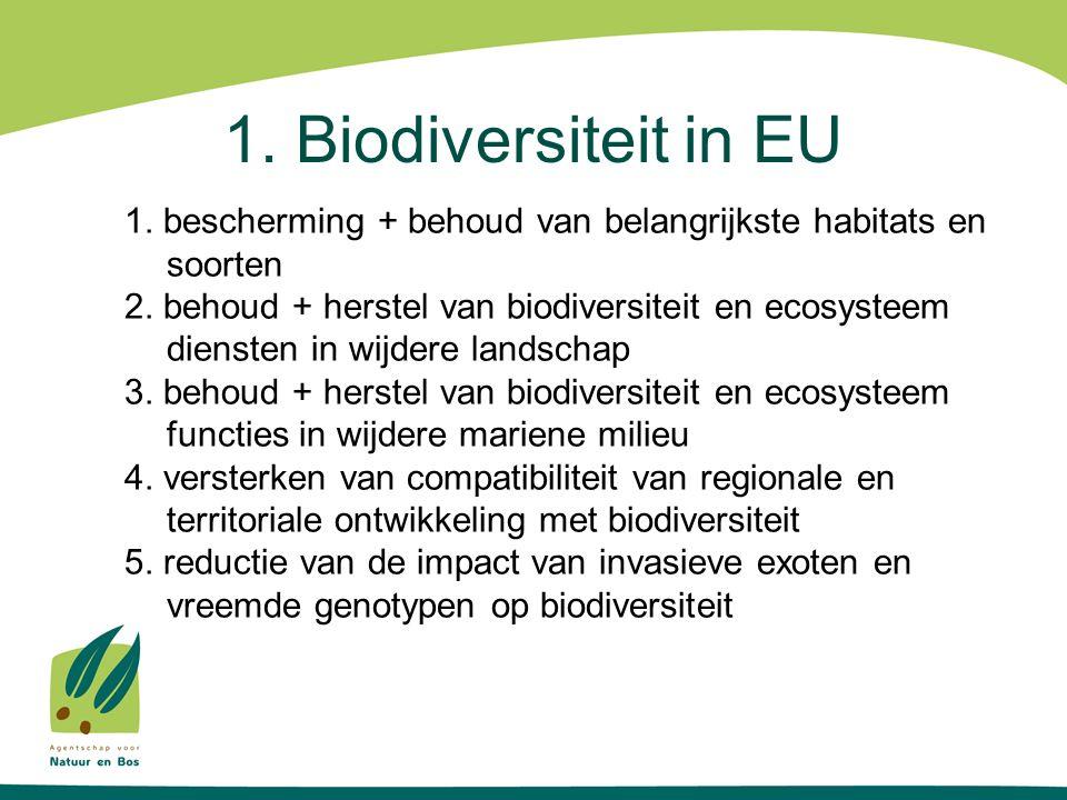 1. Biodiversiteit in EU 1. bescherming + behoud van belangrijkste habitats en soorten 2. behoud + herstel van biodiversiteit en ecosysteem diensten in