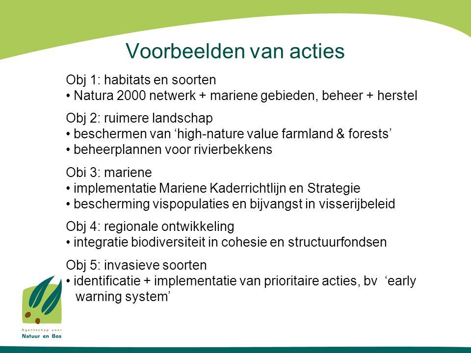 Voorbeelden van acties Obj 1: habitats en soorten Natura 2000 netwerk + mariene gebieden, beheer + herstel Obj 2: ruimere landschap beschermen van 'high-nature value farmland & forests' beheerplannen voor rivierbekkens Obi 3: mariene implementatie Mariene Kaderrichtlijn en Strategie bescherming vispopulaties en bijvangst in visserijbeleid Obj 4: regionale ontwikkeling integratie biodiversiteit in cohesie en structuurfondsen Obj 5: invasieve soorten identificatie + implementatie van prioritaire acties, bv 'early warning system'