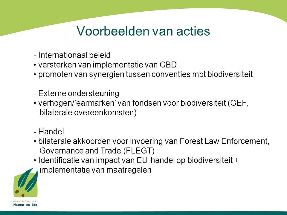 Voorbeelden van acties - Internationaal beleid versterken van implementatie van CBD promoten van synergiën tussen conventies mbt biodiversiteit - Externe ondersteuning verhogen/'earmarken' van fondsen voor biodiversiteit (GEF, bilaterale overeenkomsten) - Handel bilaterale akkoorden voor invoering van Forest Law Enforcement, Governance and Trade (FLEGT) Identificatie van impact van EU-handel op biodiversiteit + implementatie van maatregelen