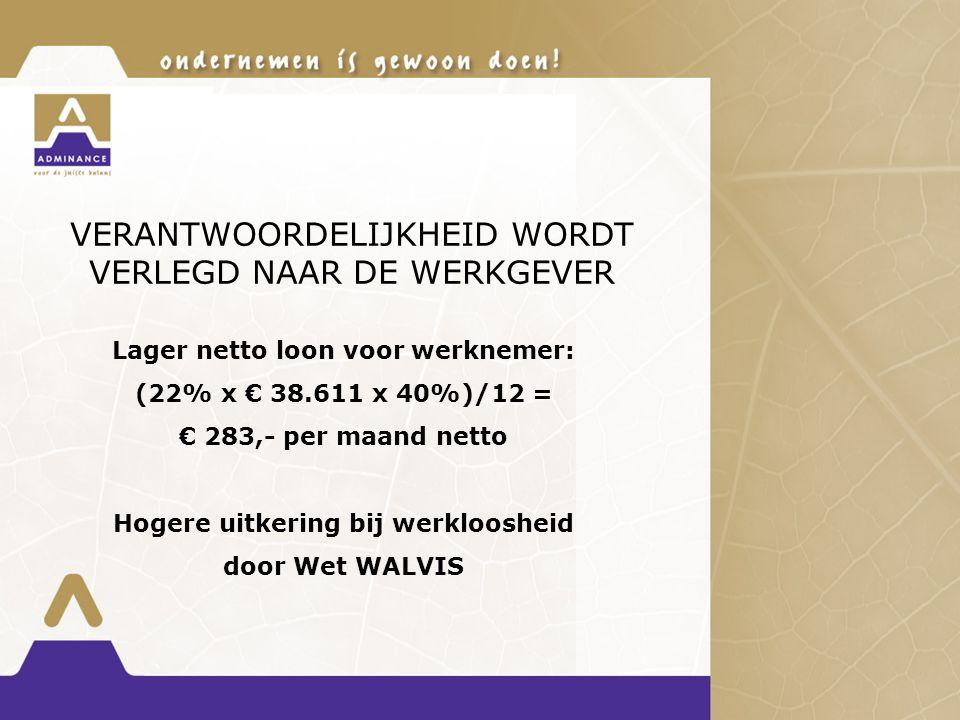 VERANTWOORDELIJKHEID WORDT VERLEGD NAAR DE WERKGEVER Lager netto loon voor werknemer: (22% x € 38.611 x 40%)/12 = € 283,- per maand netto Hogere uitkering bij werkloosheid door Wet WALVIS
