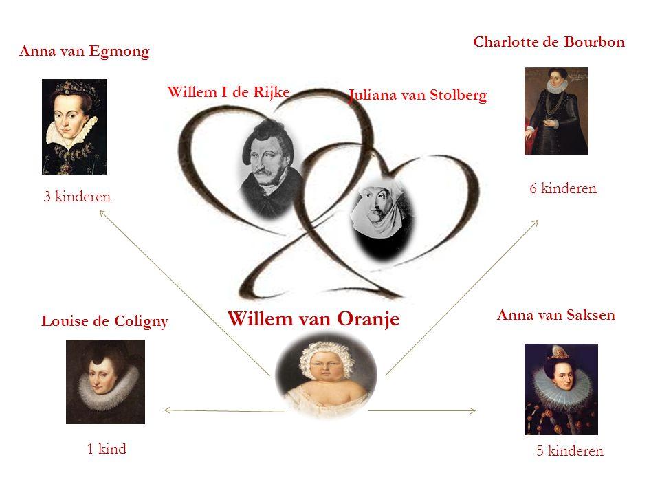 STAMBOOM Willem van Oranje Anna van Egmong Anna van Saksen Charlotte de Bourbon Louise de Coligny 3 kinderen 5 kinderen 6 kinderen 1 kind Juliana van