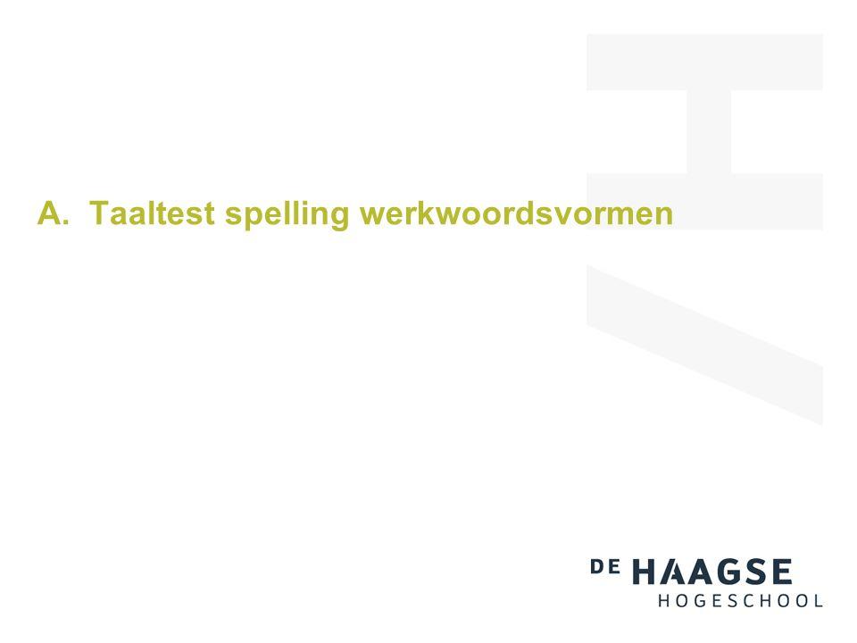 A. Taaltest spelling werkwoordsvormen
