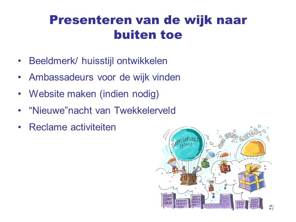 Presenteren van de wijk naar buiten toe Beeldmerk/ huisstijl ontwikkelen Ambassadeurs voor de wijk vinden Website maken (indien nodig) Nieuwe nacht van Twekkelerveld Reclame activiteiten