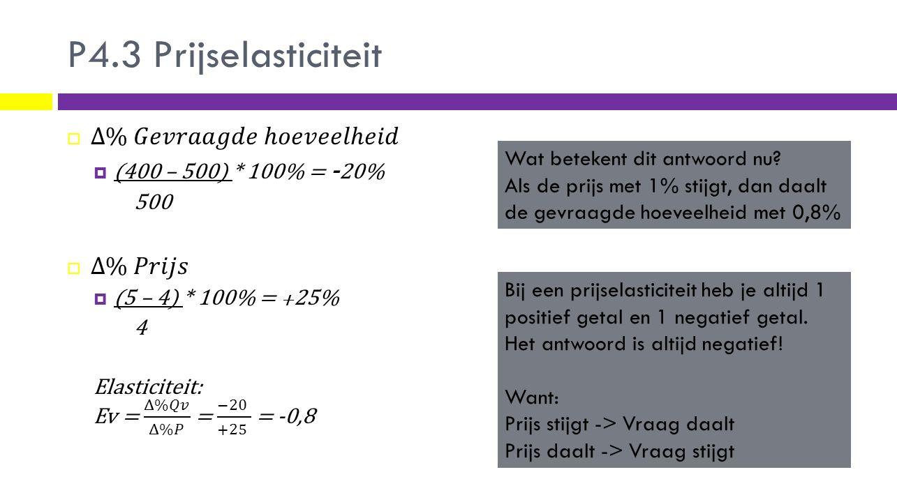 Prijselasticiteit  elastisch of inelastisch PrijselasticiteitBetekenisVoorbeeldproduct 0 (Volkomen inelastisch)Als de prijs verandert, dan verandert er niets in de vraag.