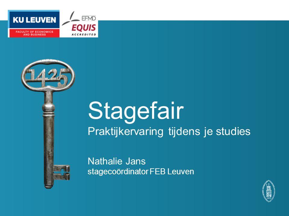 Stagefair Praktijkervaring tijdens je studies Nathalie Jans stagecoördinator FEB Leuven