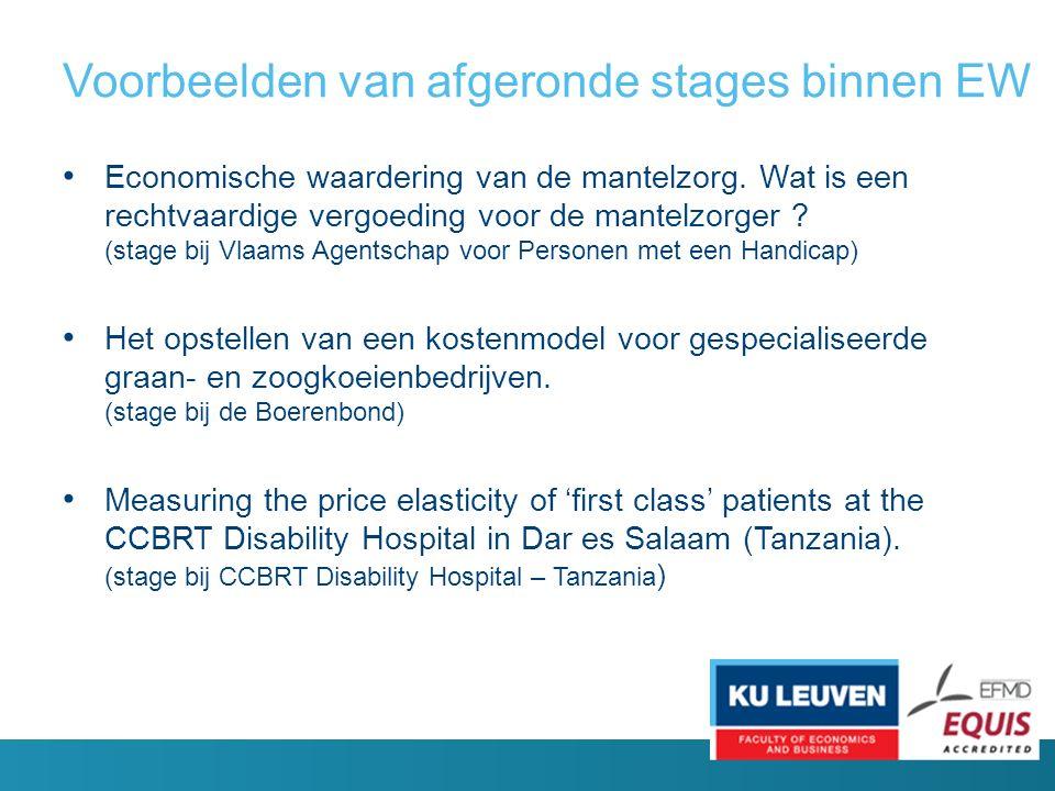 Voorbeelden van afgeronde stages binnen EW Economische waardering van de mantelzorg.