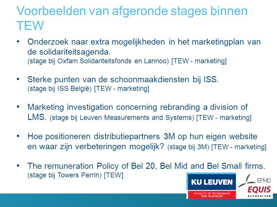 Voorbeelden van afgeronde stages binnen TEW Onderzoek naar extra mogelijkheden in het marketingplan van de solidariteitsagenda.