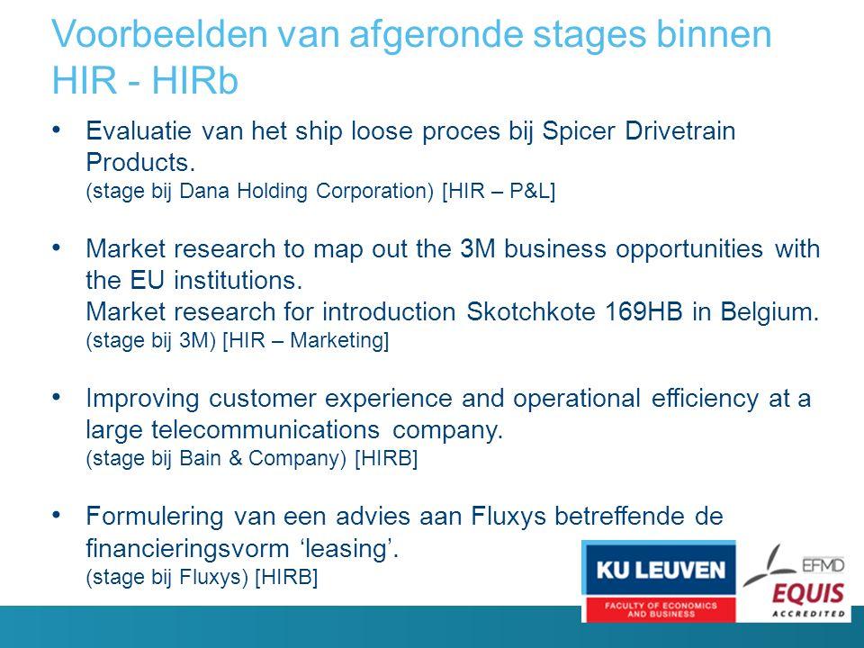 Voorbeelden van afgeronde stages binnen HIR - HIRb Evaluatie van het ship loose proces bij Spicer Drivetrain Products.