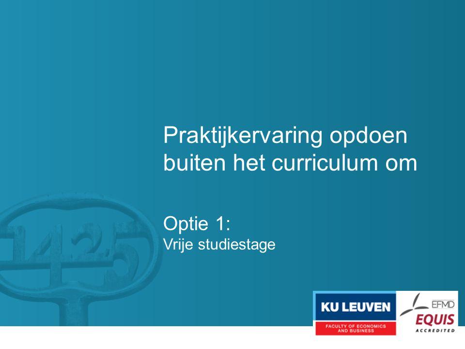 Praktijkervaring opdoen buiten het curriculum om Optie 1: Vrije studiestage