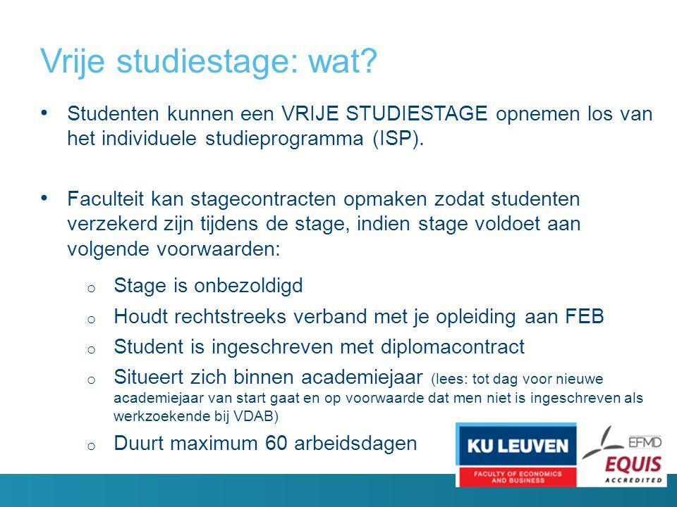 Vrije studiestage: wat.