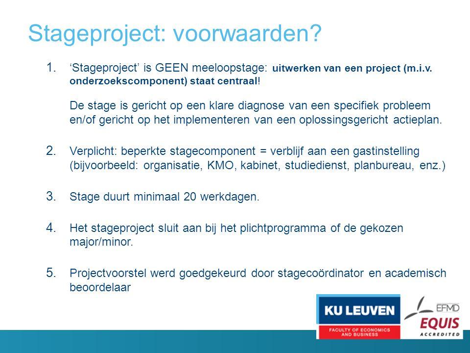 Stageproject: voorwaarden. 1.
