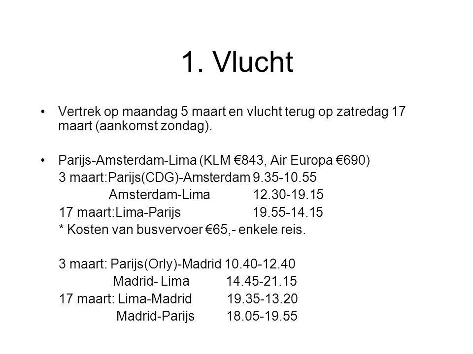 Vervolg reis Amsterdam-Madrid-Lima (Air Europa €786) 5 maart Amsterdam-Madrid 9.35-12.10 Madrid-Lima 14.45-21.15 17 maart Lima-Madrid 19.35-13.20 Madrid-Amsterdam 14.30-17.00 Antwerpen-Amsterdam-Lima (KLM €936) 5 maart Antwerpen-Amsterdam(trein) 7.00-8.52 Amsterdam-Lima 12.30-19.15 17 maart Lima-Amsterdam 21.15-15.30