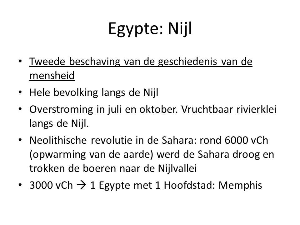 Egypte: Nijl Tweede beschaving van de geschiedenis van de mensheid Hele bevolking langs de Nijl Overstroming in juli en oktober. Vruchtbaar rivierklei