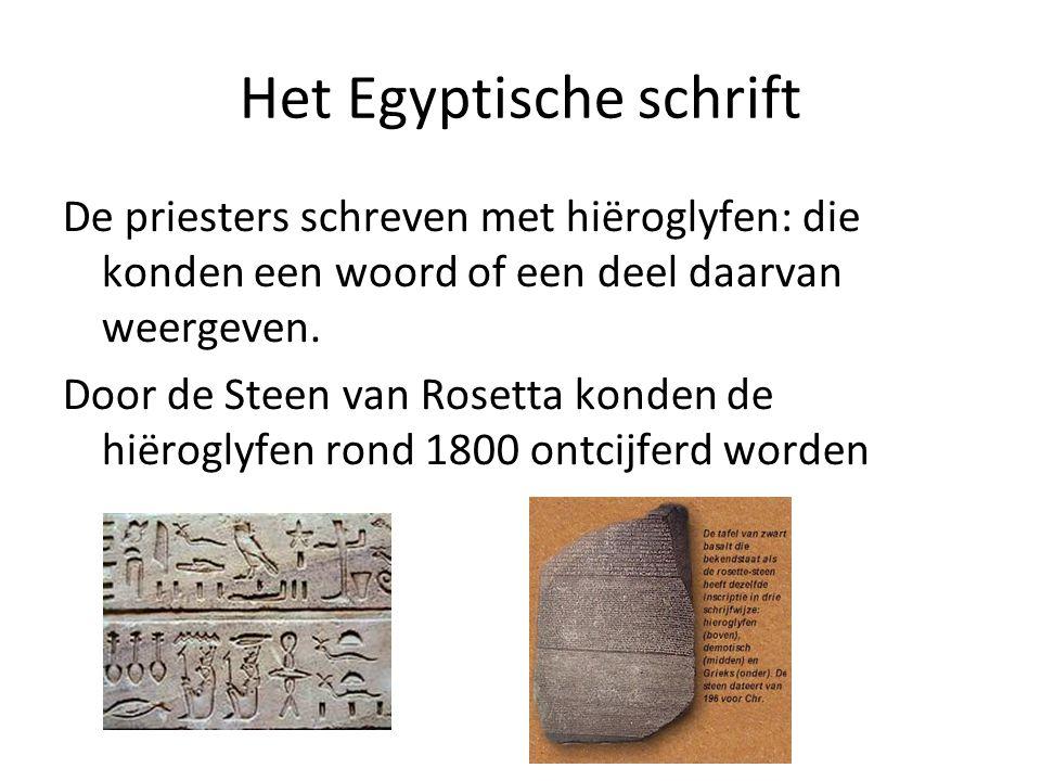 Het Egyptische schrift De priesters schreven met hiëroglyfen: die konden een woord of een deel daarvan weergeven. Door de Steen van Rosetta konden de