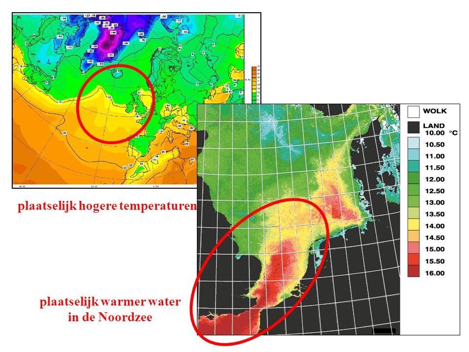 plaatselijk hogere temperaturen plaatselijk warmer water in de Noordzee