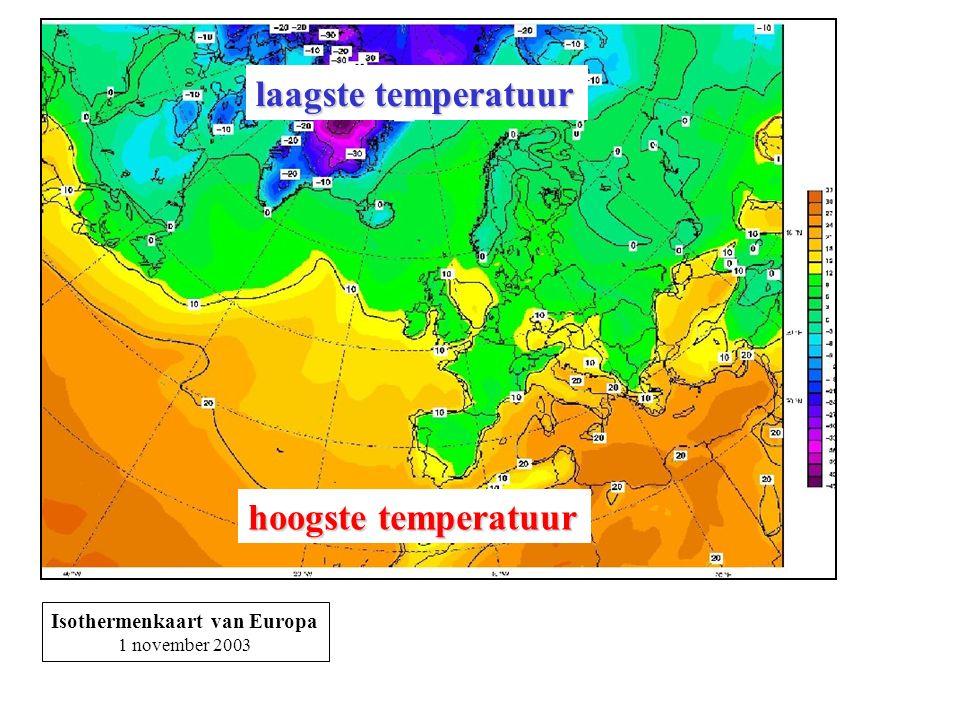 Isothermenkaart van Europa 1 november 2003 hoogste temperatuur laagste temperatuur