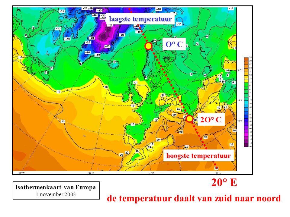 Isothermenkaart van Europa 1 november 2003 20° E hoogste temperatuur laagste temperatuur O° C 2O° C de temperatuur daalt van zuid naar noord