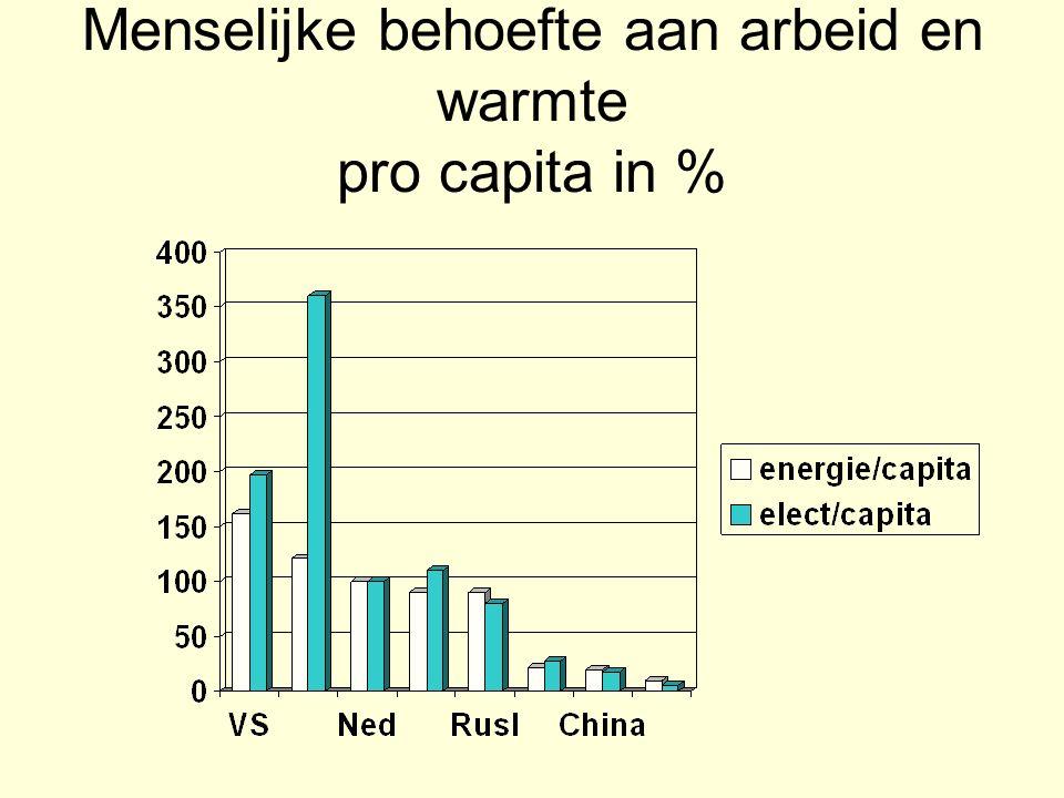 Menselijke behoefte aan arbeid en warmte pro capita in %
