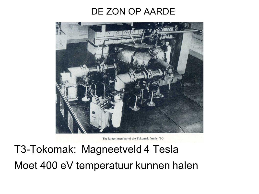 DE ZON OP AARDE T3-Tokomak: Magneetveld 4 Tesla Moet 400 eV temperatuur kunnen halen