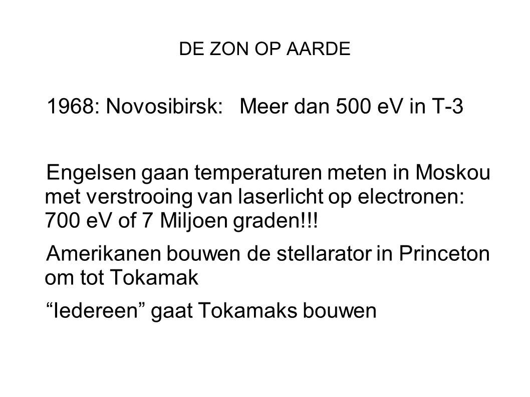 DE ZON OP AARDE 1968: Novosibirsk: Meer dan 500 eV in T-3 Engelsen gaan temperaturen meten in Moskou met verstrooing van laserlicht op electronen: 700 eV of 7 Miljoen graden!!.