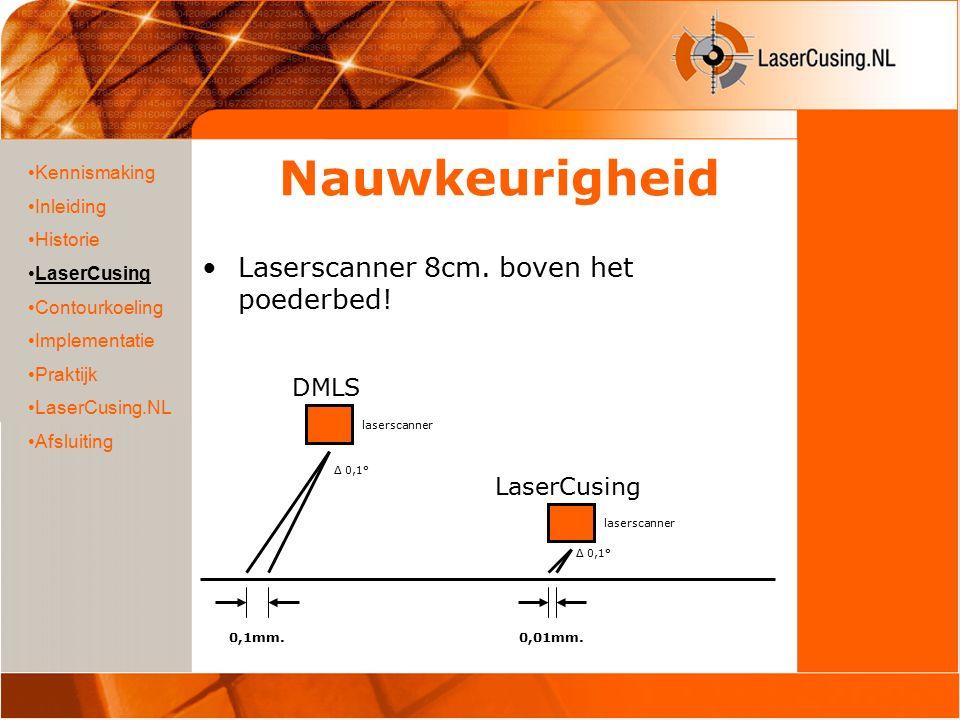 Nauwkeurigheid Laserscanner 8cm. boven het poederbed! Kennismaking Inleiding Historie LaserCusing Contourkoeling Implementatie Praktijk LaserCusing.NL