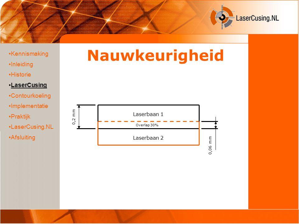 Nauwkeurigheid Kennismaking Inleiding Historie LaserCusing Contourkoeling Implementatie Praktijk LaserCusing.NL Afsluiting 0,2 mm Overlap 30% Laserbaan 2 Laserbaan 1 0,06 mm