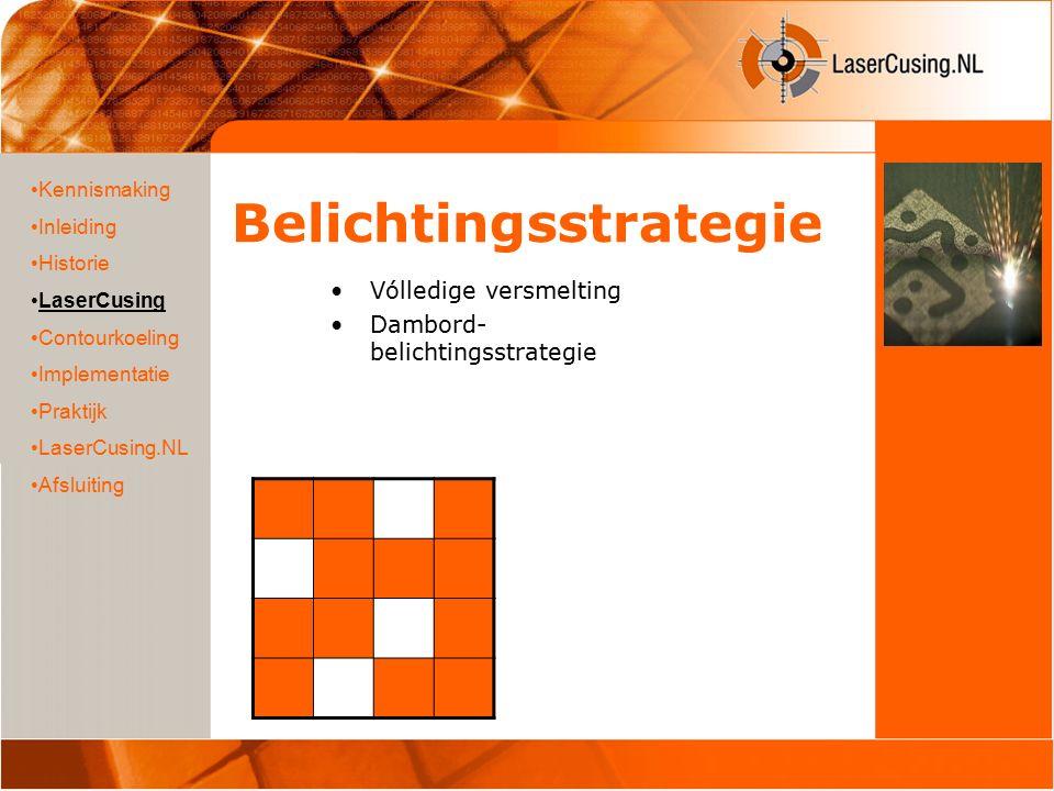 Belichtingsstrategie Vólledige versmelting Dambord- belichtingsstrategie Kennismaking Inleiding Historie LaserCusing Contourkoeling Implementatie Praktijk LaserCusing.NL Afsluiting
