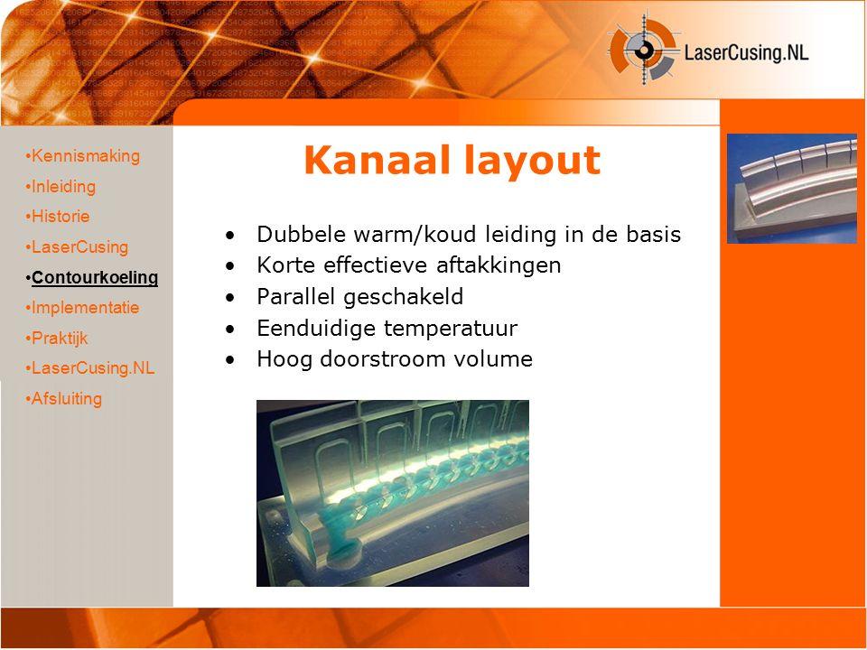 Kanaal layout Dubbele warm/koud leiding in de basis Korte effectieve aftakkingen Parallel geschakeld Eenduidige temperatuur Hoog doorstroom volume Ken