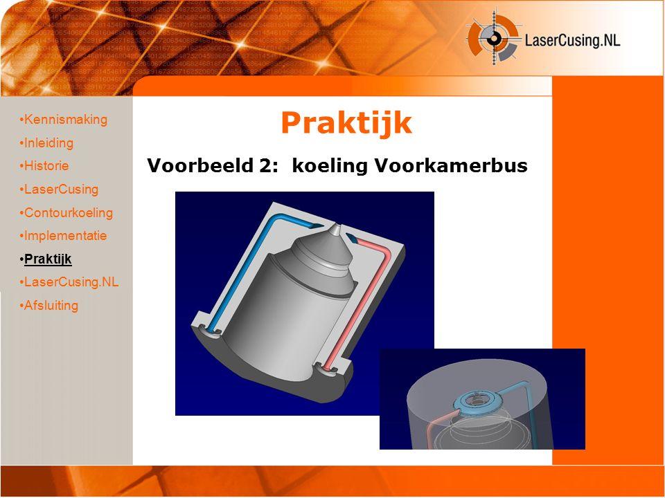 Praktijk Voorbeeld 2: koeling Voorkamerbus Kennismaking Inleiding Historie LaserCusing Contourkoeling Implementatie Praktijk LaserCusing.NL Afsluiting