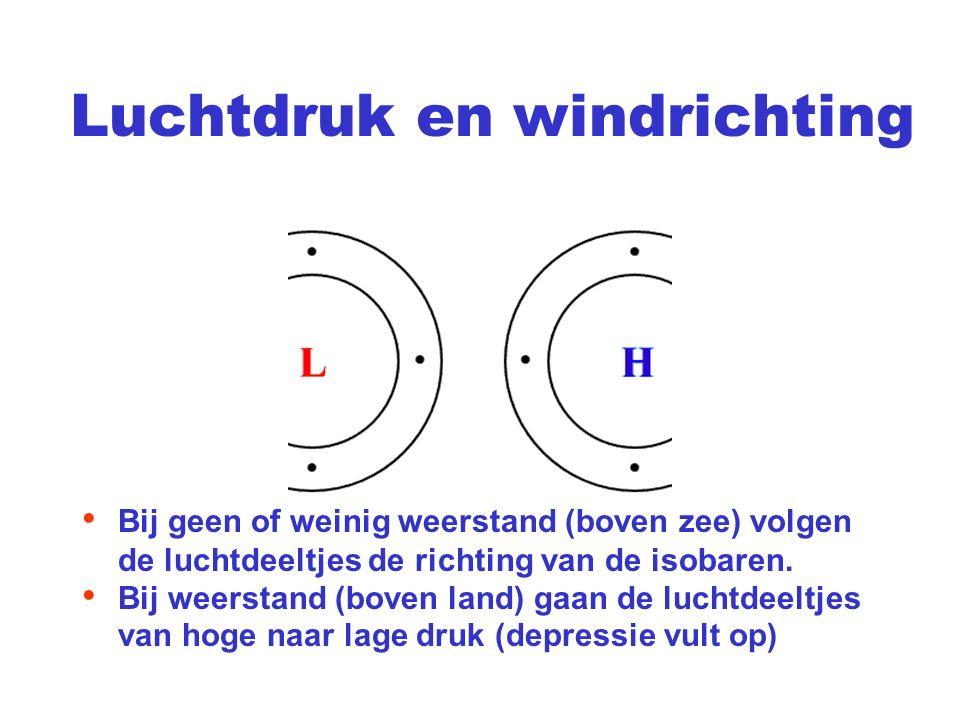 Luchtdruk en windrichting Bij geen of weinig weerstand (boven zee) volgen de luchtdeeltjes de richting van de isobaren. Bij weerstand (boven land) gaa