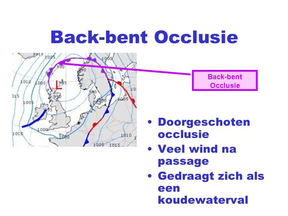 Back-bent Occlusie Doorgeschoten occlusie Veel wind na passage Gedraagt zich als een koudewaterval Back-bent Occlusie