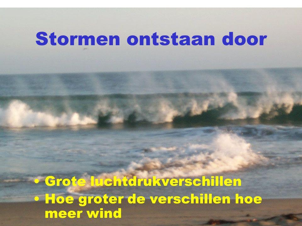 Stormen ontstaan door Grote luchtdrukverschillen Hoe groter de verschillen hoe meer wind