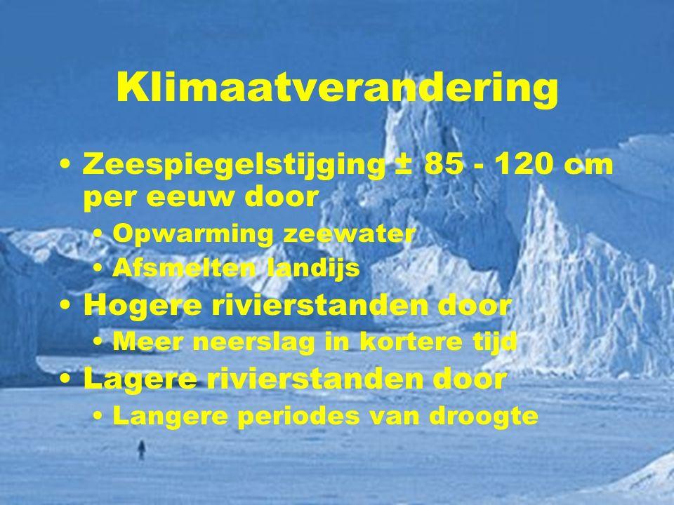 Klimaatverandering Zeespiegelstijging ± 85 - 120 cm per eeuw door Opwarming zeewater Afsmelten landijs Hogere rivierstanden door Meer neerslag in kort